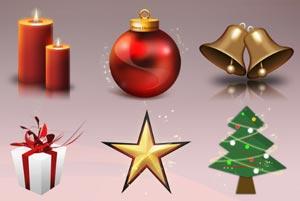 icone natalizie: candeline, pallina, albero, stella, regalo, campane