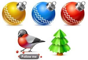 icone natale: palline, albero, pettirosso