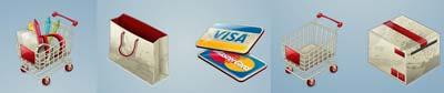 icone carrello pieno e carrello vuoto, carta visa, shopper, cestino, pacco