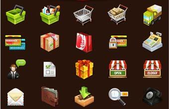 icone gratuite e-commerce; carrello, cestino, pacchetto, cassa, portafoglio, telefono