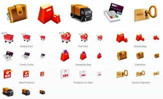 icone per ecommerce: shopper, portafoglio, soldi, furgone