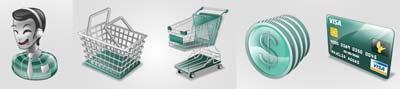 icone shopping online: carrello, soldi, carta di credito, cestino, operatore