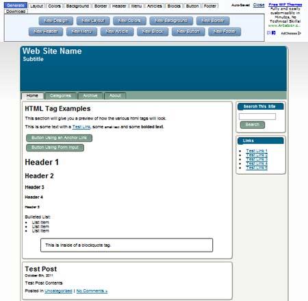 tool online per personalizzare tema WordPress